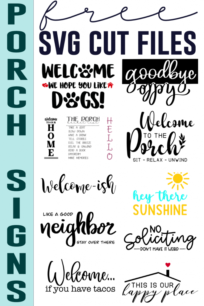 Free Porch Sign Cut Files Collage