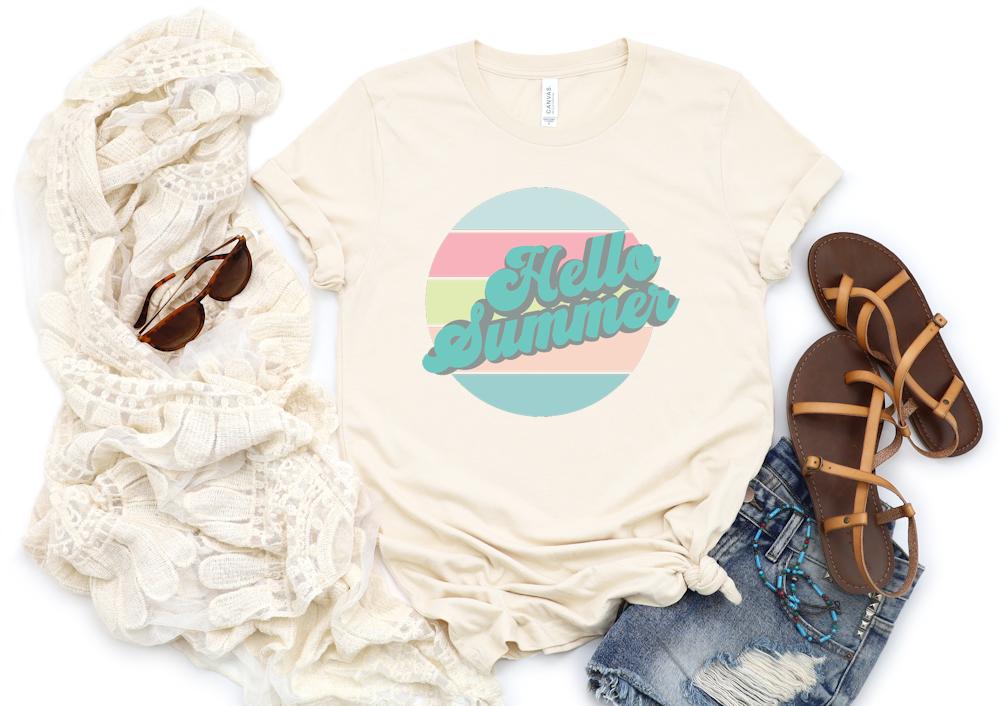 Cream color tshirt with retro summer design